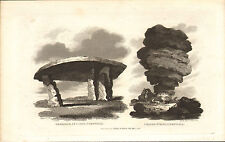 cromlech at leyon & cheese - wring cornwall  1821 engraving !