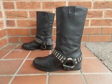 ZADIG & VOLTAIRE (ZV) Black Leather Harness Biker Boots * s6 uk * PULL ON