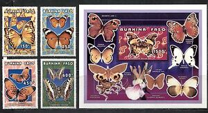 BURKINA FASO 1996, BUTTERFLIES,  Scott 1069-1072,1073. MNH