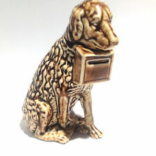 Antique Ceramic Coin Bank: Dog with Donation Box