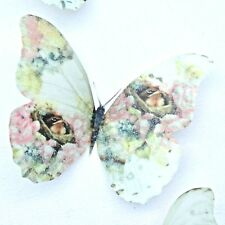 Shabby Chic Robin Butterflies 4 Pastel 3D Sparkling Girls Wall Decals Hand Made