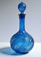 Rare Antique 19C Russian Blue Glass Decanter in VG condition