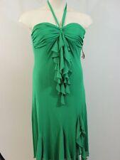 Green Halter Dress Asymmetrical Hem Ruffles 12 Formal Evening Wear NWT SANGRIA