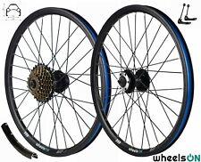 20 inch wheelsON Front Rear Wheel Set+7 Speed Freewheel Disc Brake QR Black