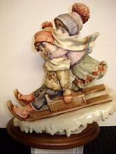 Vintage~1982~Giuseppe Armani~Children Sledding Figurine~Florence Italy~Vgc