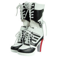 Cosdaddy Harley Quinn Shoes High heel Boots Halloween Women Cosplay
