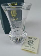 Collins Crystal Scottish bud vase. engraved Wren Bird. Thistle shape. Engraving