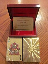 NEW IN BOX 24 CARAT GOLD SP PLAYING CARDS WITH CERTIFICATE OF AUTHENTICITY