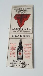 Simonds World Famous Milk Stout Bryant & May matchbook 1920s Reading brewers