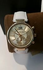 Michael Kors Sawyer Gold Tone Dual Time Chronograph White Leather Watch NEW
