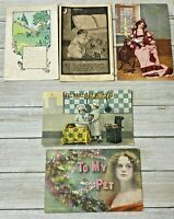 Lot Of 5 Assorted Vintage Greetings Postcards Post Cards