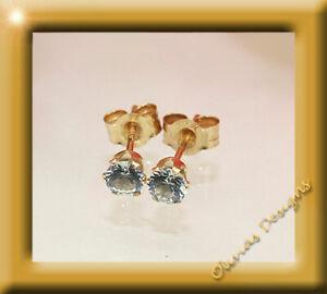 März Geburssteine 375 Gold Ohrstecker Brillant Fassung 3,00 mm, 1 Paar Aquamarin