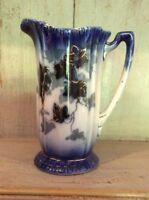 ANTIQUE VINTAGE FLOW BLUE JUG PITCHER VGC Leaves Gilded Finish  SHABBY CHIC VASE