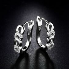 18k White Gold Filled Swarovski Crystal Band Huggie Hoop Earrings Jewellery