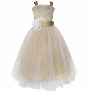 UK Flower Girl Dress Kids Princess Party Wedding Bridesmaid Formal Tutu Dresses