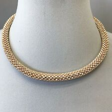 Designer Inspired Gold Finish Clear Rhinestones Choker Necklace