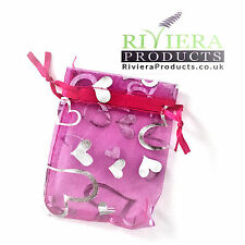 Hearts Pink/Silver Organza Bags 7x9CM x20 Bags