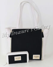 NEW Guess Kingstown Tote Handbag Purse w/Wallet Black Multi NWT