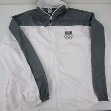 United States Olympic Committee Mens USA White Gray Track Jacket Sz XL