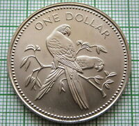 BELIZE 1975 ONE DOLLAR, AVIFAUNA SERIES - SCARLET MACAW, UNC MATTE Cu-Ni