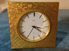 Vintage Swiss Helveco Brass Wind - Up Travel Alarm Clock ~ Working