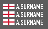 3 X Driver Name Stickers - Race Car Names Motorsport Rally Track Surname Flag