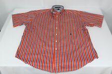 Vintage Orange Striped Tommy Hilfiger L Large Button Front Short Sleeve Shirt