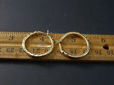 "925 Sterling Silver Gold Wash Bright Cut Engraved Hoop Earrings 1"" CI 925"