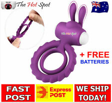 Rabbit Vibrator Cock Ring Vibrating Sex Toy Clitoris Penis Couples Mens Erection