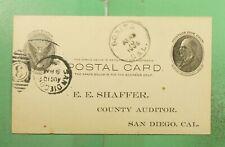 DR WHO 1906 BONITA CA POSTAL CARD TO SAN DIEGO CA  g14837