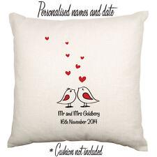 Mr Mrs Wedding Engagement Anniversary Love Personalised Custom Cushion Birds