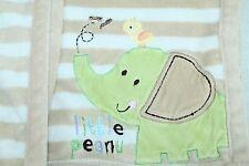 Carters Just One Year LITTLE PEANUT Elephant Tan Brown White Stripe Blanket