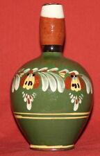 Vintage Hand Painted Floral Glazed Folk Redware Pottery Pitcher Jug