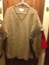 J. Crew V Neck Hand Knit 100 Percent Wool Women's Sweater Large