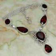"Beautiful Queenly New English Quartz Garnet & 925 Silver Handmade Y Necklace 19"""