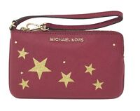 Michael Kors Large TZ Saffiano Leather Glitter Star Wallet Cherry Wristlet