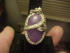 Wonderful Lavender Jade Oval JOY HSN Dragon Ring Sterling Silver CZ Size 7