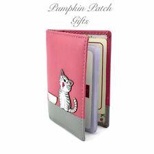 PINK Leather Credit Debit Card ID Bus Pass Holder Ziggy Cat Kitten MALA 629 99