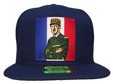 Charles De Gaulle Hat 100% Cotton Blue Flat Brim Snapback Ball Cap French Flag