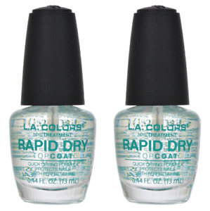 2 Pack LA COLORS Rapid Dry Top Coat Fast Drying Pro Nail Treatments FAST DRYING