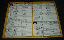 Inspektionsblatt Toyota Corolla AE 80 / AE 82 Werkstatt Service Blatt 08/1983!