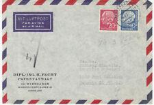 BRD Heuss Brief :  Wiesbaden 4 vom 14.08.1957 Luftpost USA