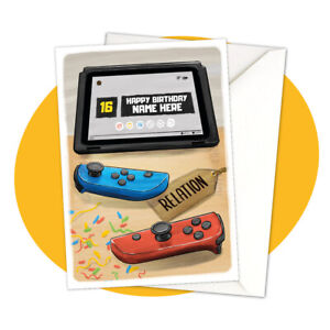 Let's Switch! - PERSONALISED BIRTHDAY CARD - nintendo switch gaming personalized