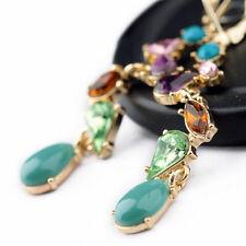 Premium Ohrhänger mit Bunt Kristall Türkis wie Tropfen Gold beschichtet Ohrringe