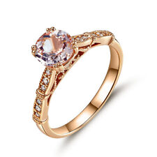 Vintage Style 14K Rose Gold Engagement Ring Pink Morganite Natural Diamonds