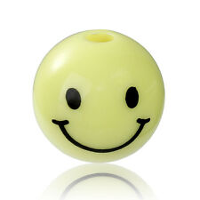 10 x SMILEY EMOJI SPACER BEADS - 14mm..  ACRYLIC  - UK SELLER - SAME DAY POST