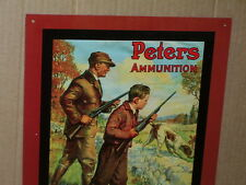 Peters Ammo -Dad & Son Hunting -Rabbit runs out the Back Way-Old Sign Dated1990