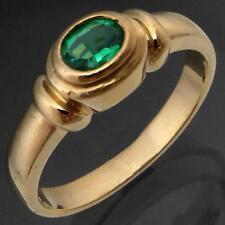 Contemporary Low GREEN EMERALD 9k Solid Yellow GOLD SOLITAIRE RING Mid Sz N