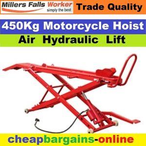 MOTORCYCLE LIFT MOTORBIKE HOIST TABLE LIFTER BIKE STAND 450Kg AIR HYDRAULIC CAP