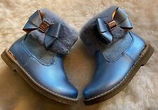 Baker by Ted Baker Blue Girls Faux Fur Boots Size 7 UK BNWOT